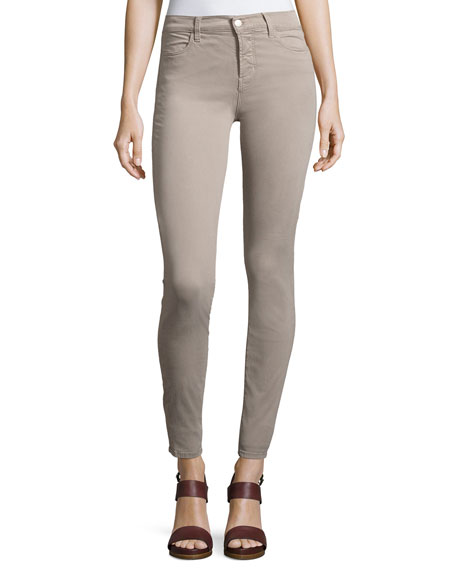 Maria High-Rise Sateen Super Skinny Pants, Light Gray