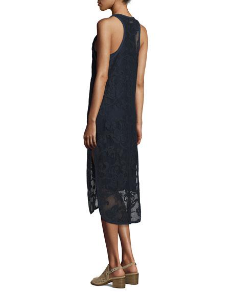 Stella Floral Laser-Cut Tank Dress, Navy
