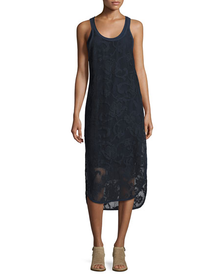 Rag & Bone Stella Floral Laser-Cut Tank Dress,