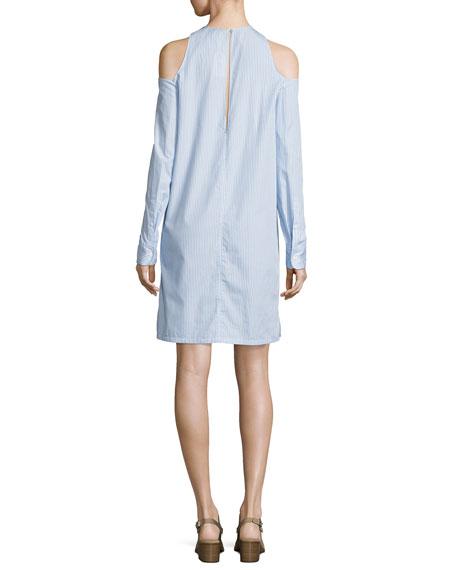 Collingwood Long-Sleeve Cold-Shoulder Dress, Blue