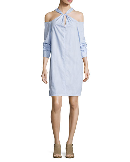 Rag & Bone Woman Cold-shoulder Striped Cotton-poplin Mini Dress Light Blue Size L Rag & Bone cGiYkKe