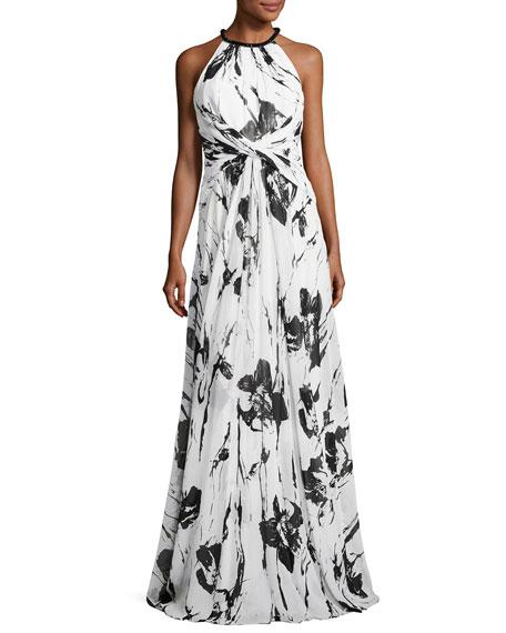 Sleeveless Floral Silk Twist Gown, Ivory/Black