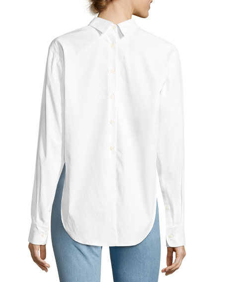 Calder Reversible Long-Sleeve Button-Front Shirt, White