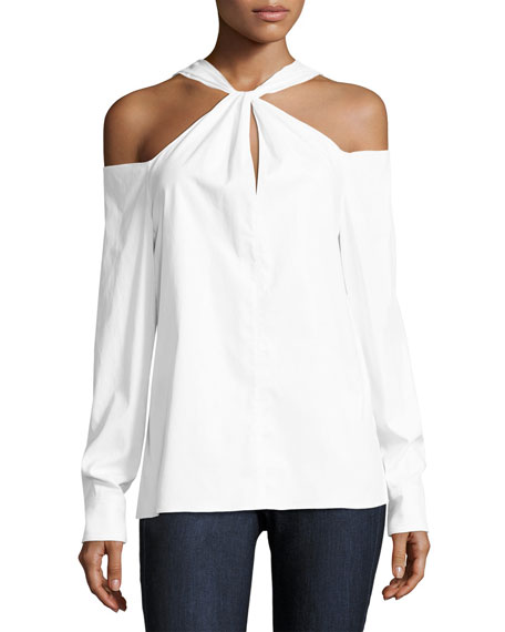 Collingwood Cold-Shoulder Long-Sleeve Top, White