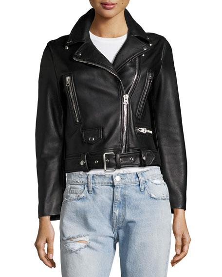 Mock Leather Moto Jacket, Black