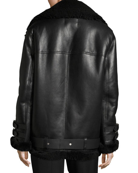 Velocite Shearling Fur-Lined Moto Jacket