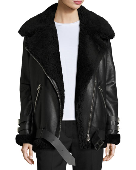 6b75f5680d514 Acne Studios Velocite Shearling Fur-Lined Moto Jacket