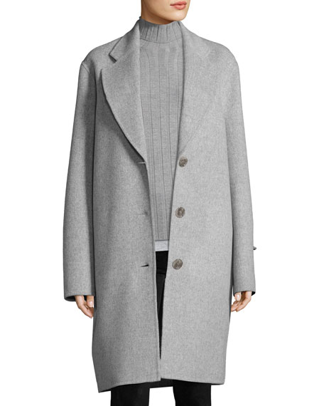Landi Double-Face Wool Coat, Gray