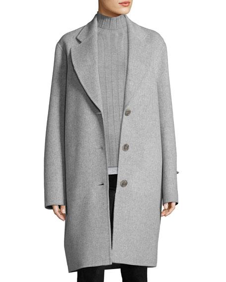 Landi Double-Face Wool Coat, Gray