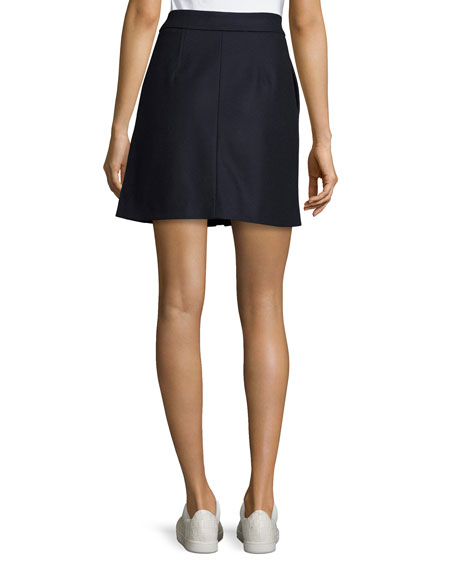 Suraya Zip-Front Flannel Skirt, Navy