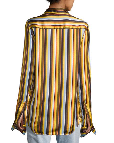 Buse Striped Satin Blouse, Multi