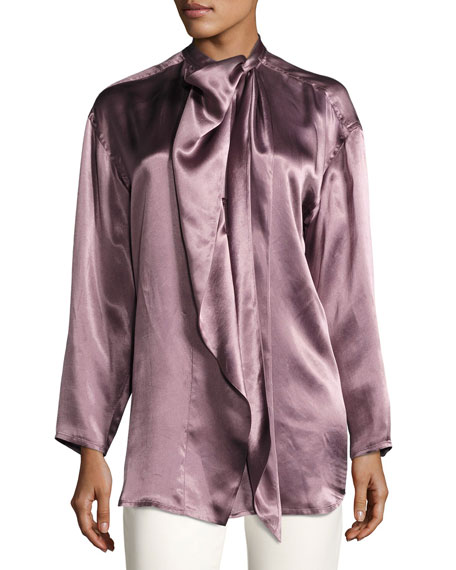 Bodil Satin Tie-Neck Blouse, Purple