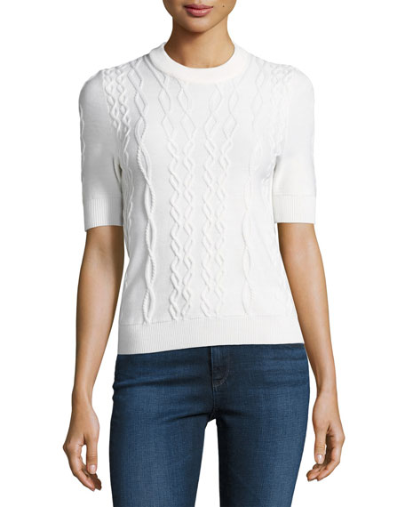 Carven Twist-Knit Short Sleeve Pullover Top, White