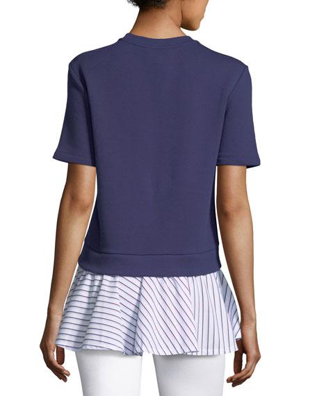 Short-Sleeve Crewneck Combo Top