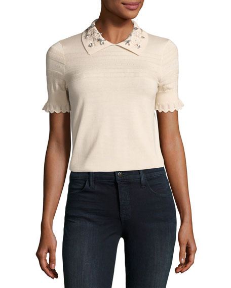 Embellished Collar Short-Sleeve Top, Ecru