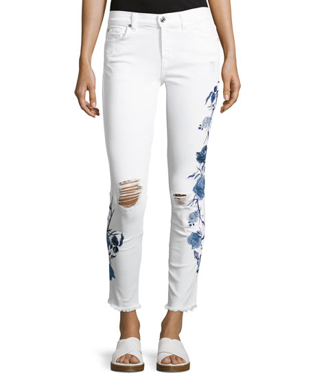 The Ankle Skinny W/ Embroidery, White