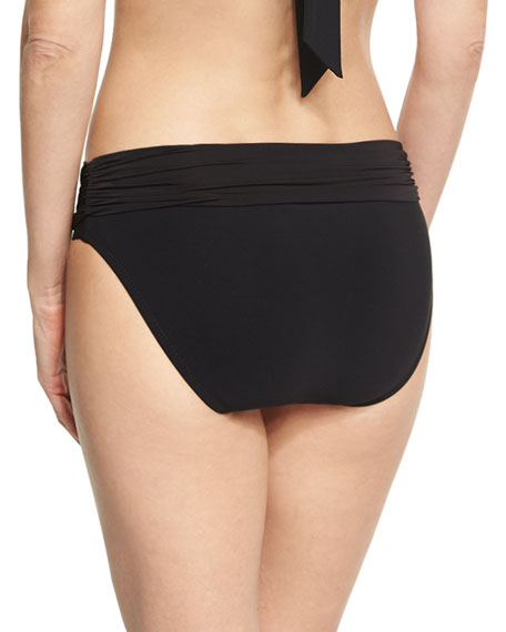 Body Ruched Fold Over Bottom, Black