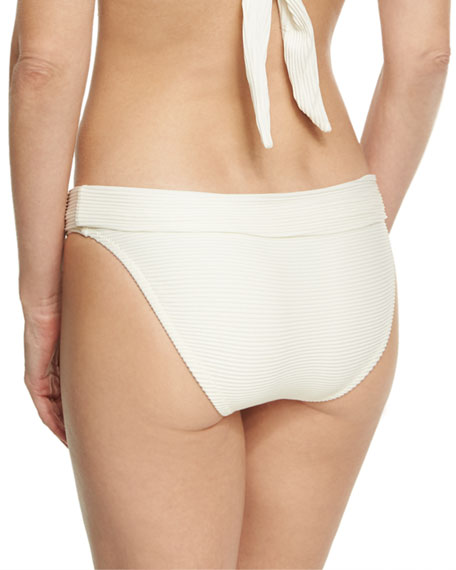 Cote D' Azur Fold-Over Swim Bikini Bottom, White