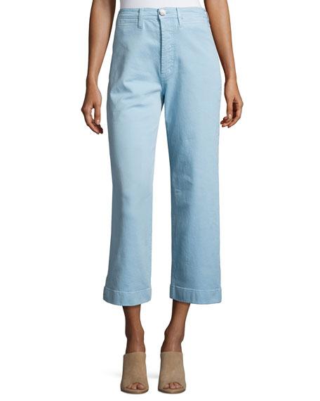 Caron High-Rise Cropped Wide Leg Pants, Blue