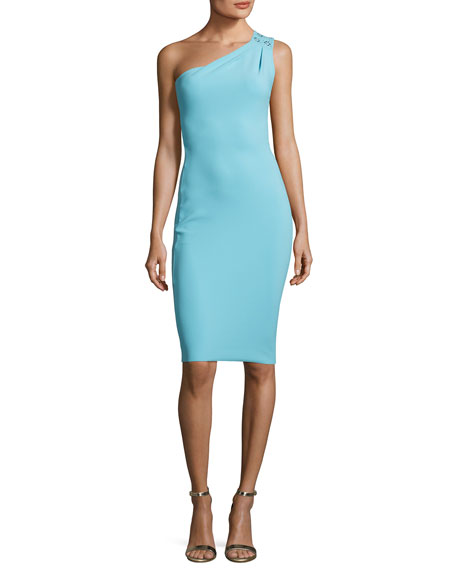 Ubah Studded One-Shoulder Cocktail Dress, Aquamarine