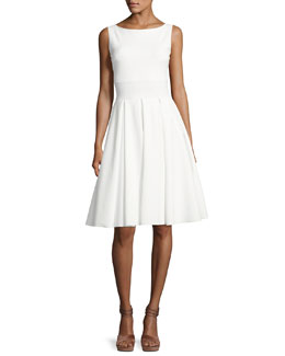 Doutzen Sleeveless Pleated Cutout Dress, White