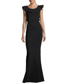 Marika Sleeveless Ruffle Jersey Dress, Black
