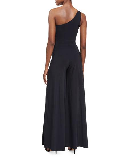 Marama One-Shoulder Faux-Wrap Jersey Jumpsuit, Black