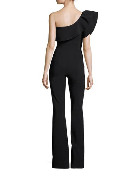 Ravivia One-Shoulder Boot-Cut Jersey Jumpsuit, Black