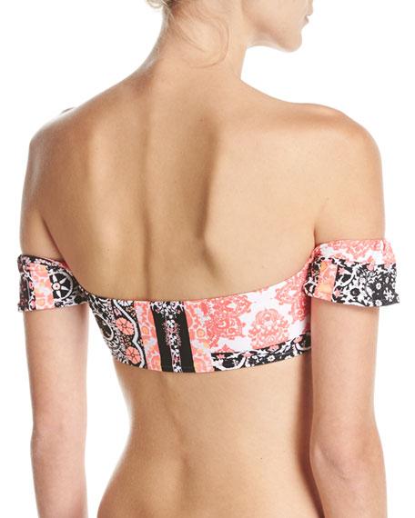 Silk Market Lace-Up Bandeau Swim Top, Multi