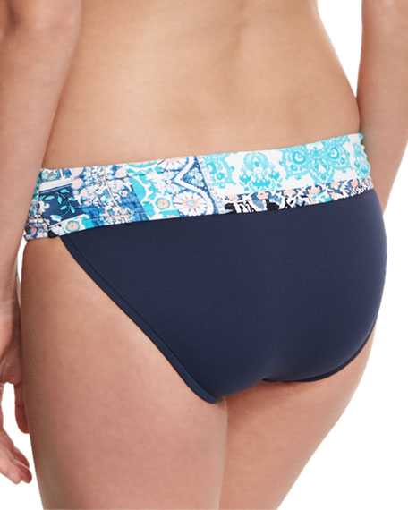 Silk Market Twist-Band Swim Bottom, Bahama Blue