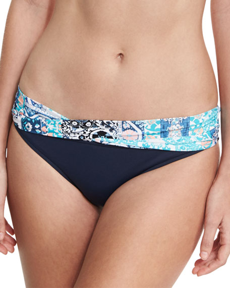 Silk Market Twist-Band Swim Bottom, Bahama Blue