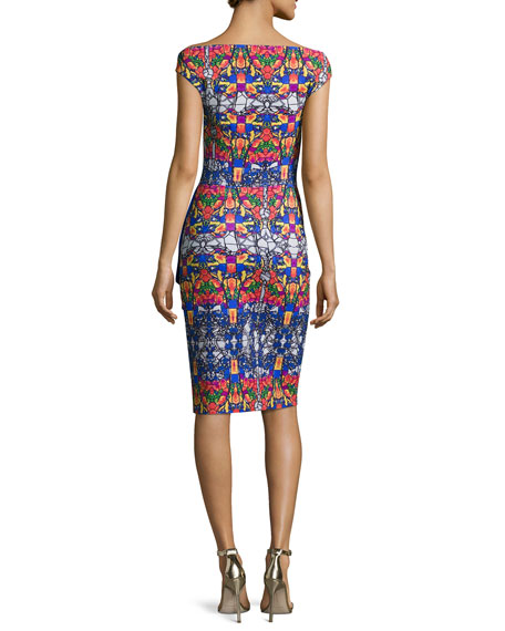 Off-the-Shoulder Printed Cutout Cocktail Dress