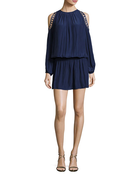 Ramy Brook Shelby Long-Sleeve Cold-Shoulder Dress, Navy