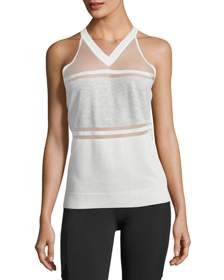 Vue Paneled Sweater Tank Top, White