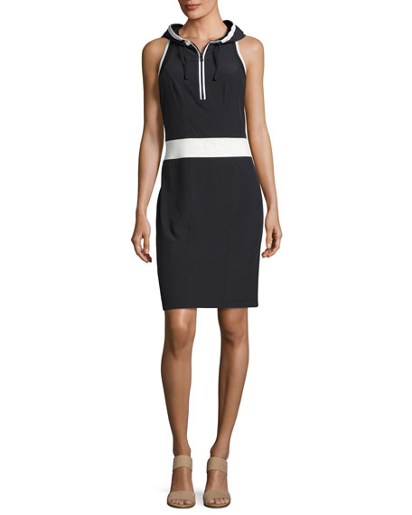 Blanc Noir Relax Sleeveless Hooded Athletic Dress, Black-White