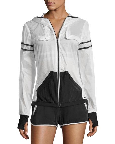 Moonlight Zip-Front Performance Jacket, White/Black