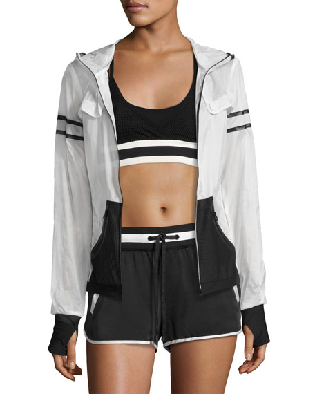 Blanc Noir Moonlight Zip-Front Performance Jacket, White/Black