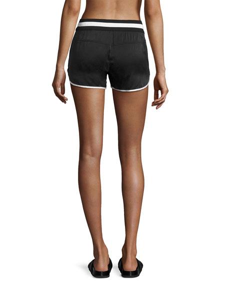 Venice Silk Drawstring Shorts, Black/White