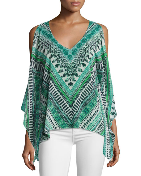Lily Long-Sleeve V-Neck Printed Top, Multi