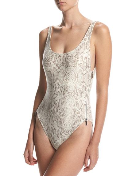 Carmen Marc Valvo U-Back Side-Zip One-Piece Swimsuit, Beige