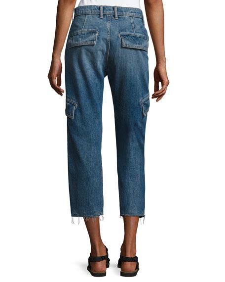 Drop Slouch Cargo Jeans, Medium Indigo Wash
