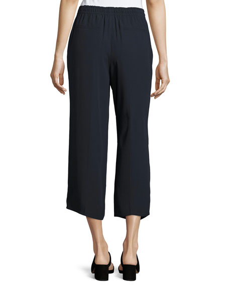 Drawstring-Waist Draped Crop Pants