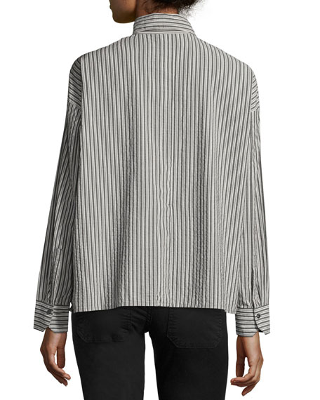 Striped Boxy Button-Front Cotton Shirt