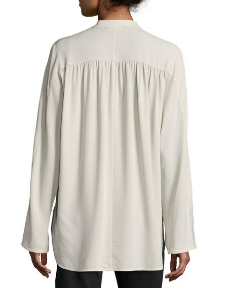 Shirred Long-Sleeve Silk Blouse