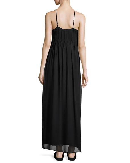 Pintucked Silk Sleeveless Maxi Dress, Black