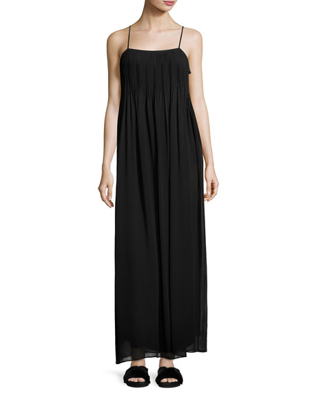 Pintucked Silk Sleeveless Maxi Dress, Black
