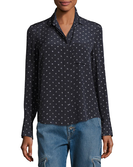 Refined Dot Slim Silk Shirt, Blue