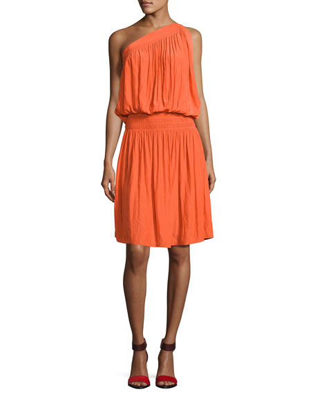 Ramy Brook Rebecca One-Shoulder Goddess Dress, Orange