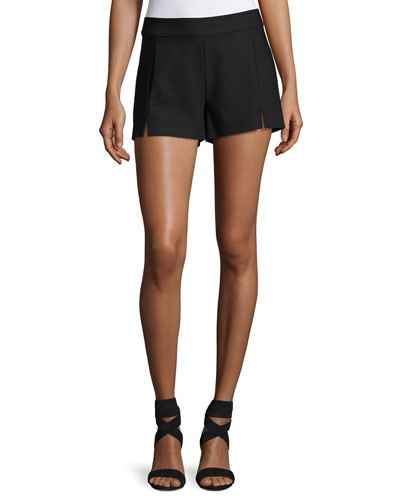 Adele Slit-Front Shorts, Black