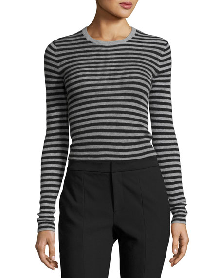 Striped Rib Cashmere Crewneck Sweater